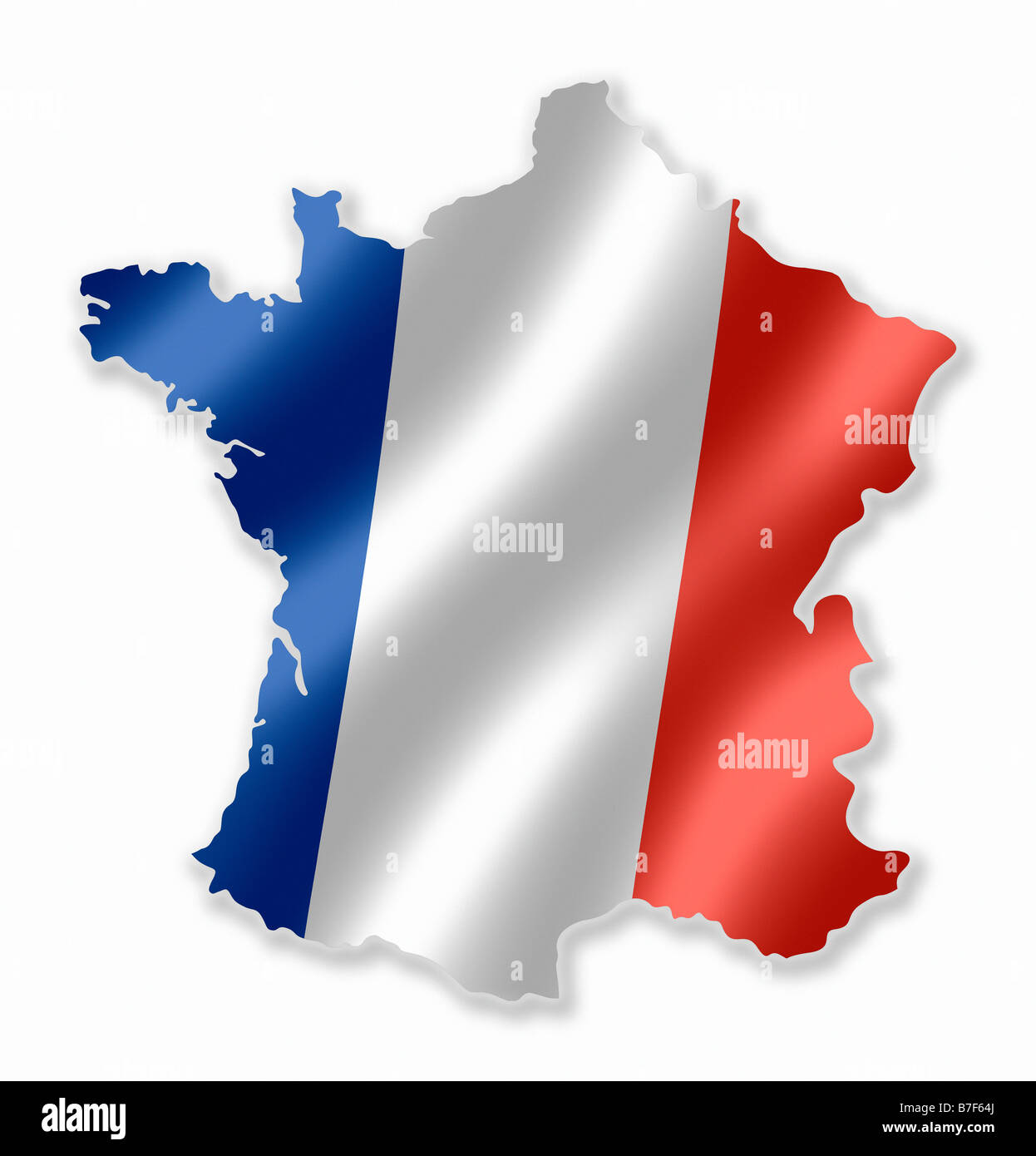 french france country map outline with national flag inside stock