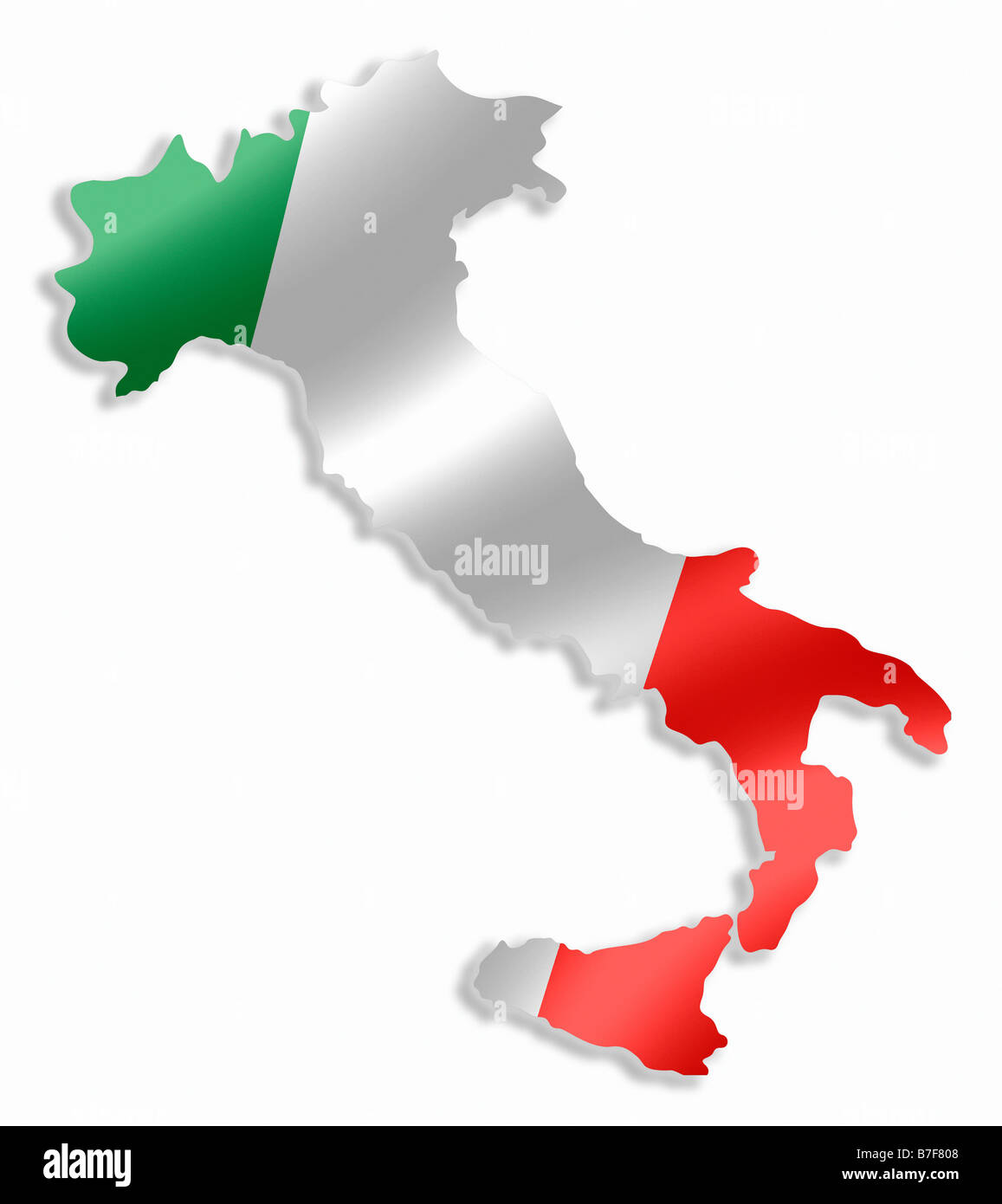 Italy Italian Country Map Outline With National Flag Inside Stock - Italian map