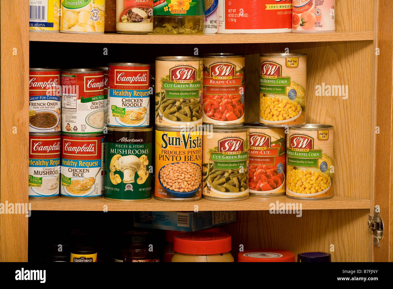 Stock Photo   Wooden Kitchen Cupboard With Shelves Full Of Canned Soup And  Vegetables