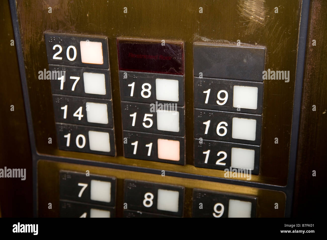 Buttons on elevator panel show no 13th floor humoring for 13 floor