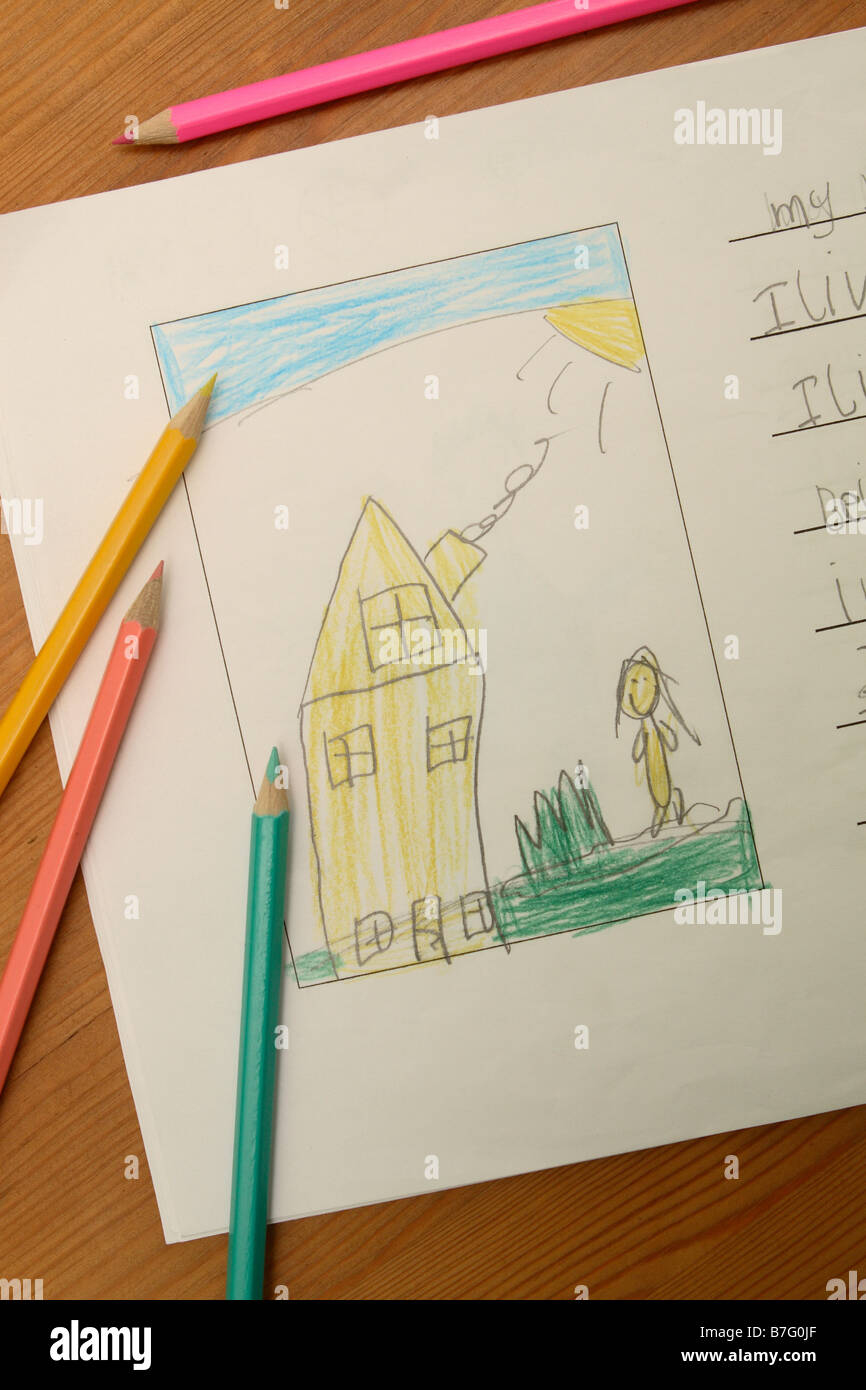 Junior primary school childs drawing art picture and work showing a house home with coloured pencil crayons