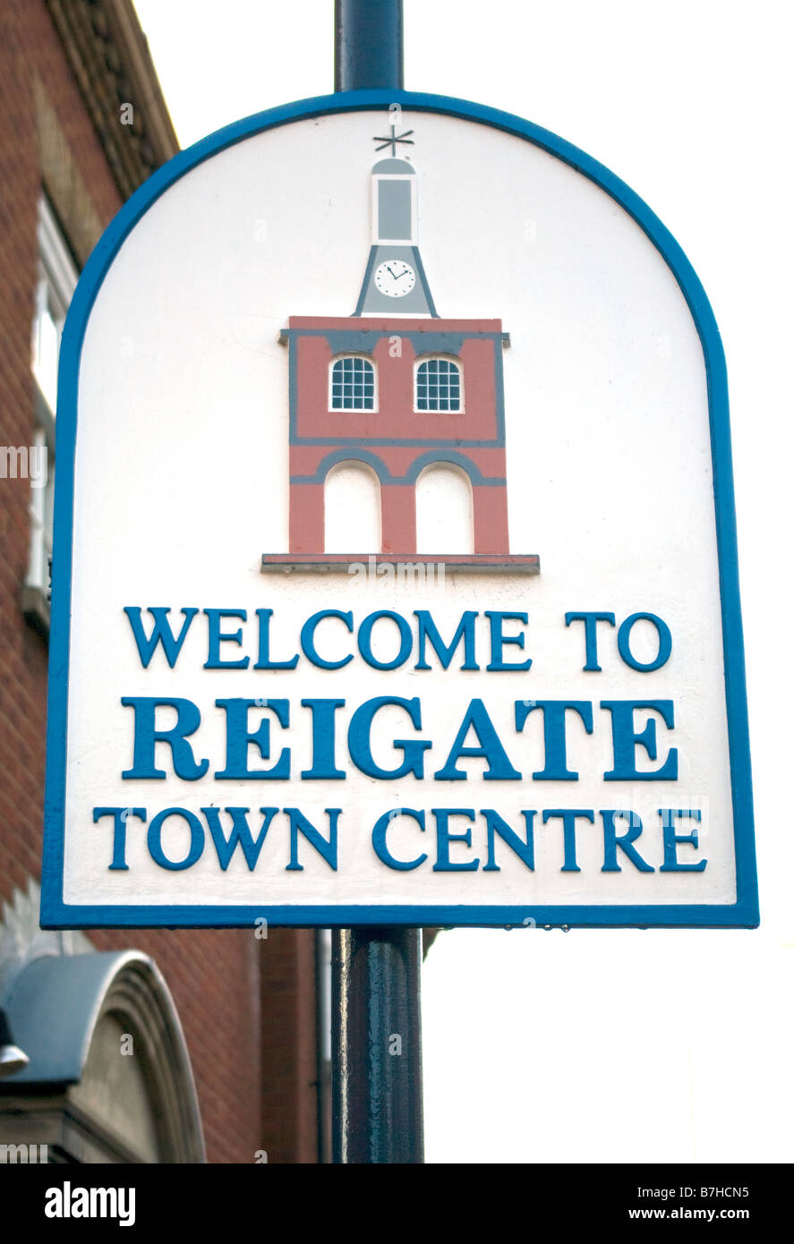 Welcome signs stock photos welcome signs stock images alamy welcome to reigate town centre sign signs surrey stock image kristyandbryce Images