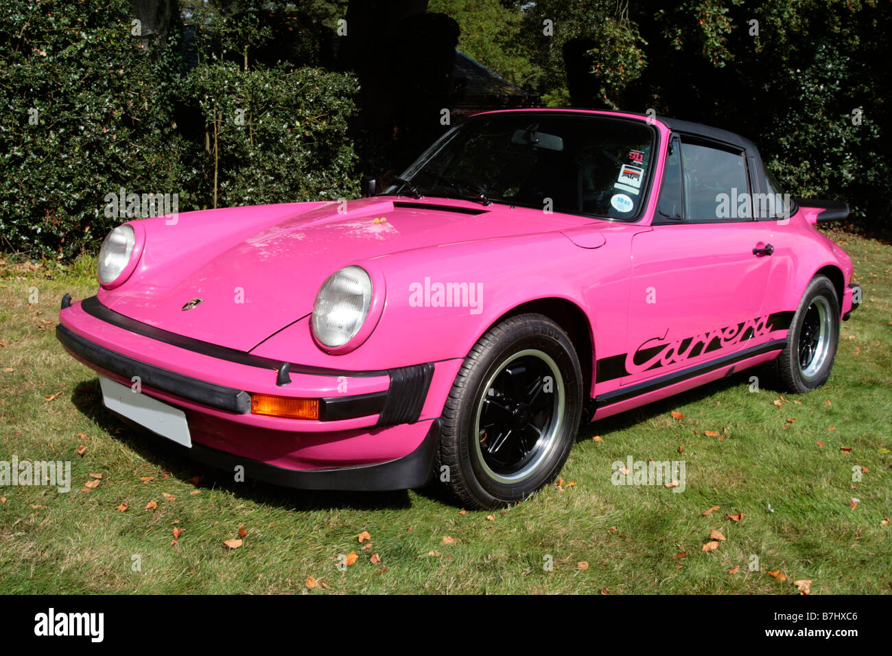Pink Porsche 911 Carrera Iconic German Sports Car Parked By The Side Stock Photo Royalty Free