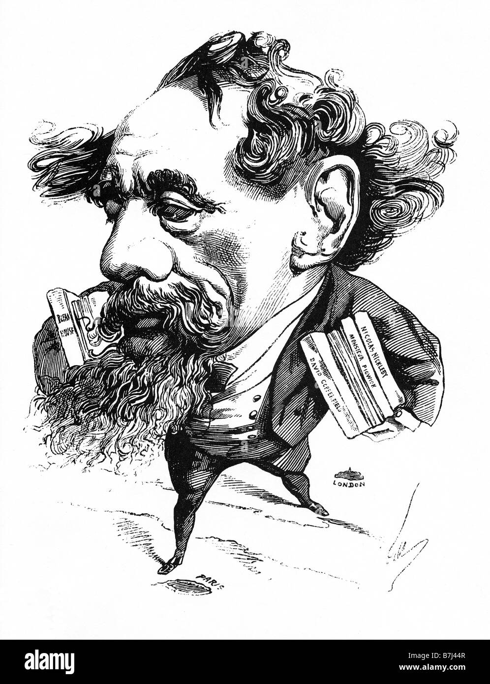 charles dickens caricature of the great victorian author by  charles dickens 1868 caricature of the great victorian author by andre gill as he essays a trip from london to paris