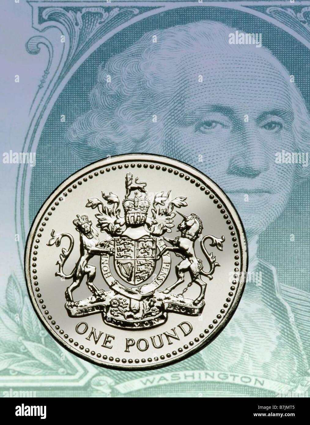 British Pound Coin Dollar Bill Stock Photo Royalty Free