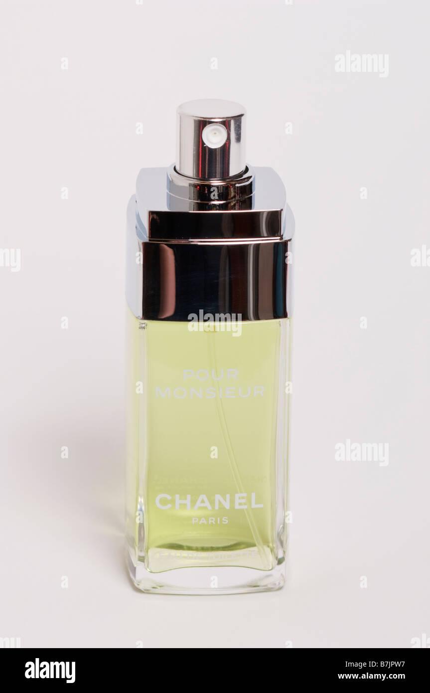 chanel aftershave. a bottle of chanel pour monsieur eau de toilette mens aftershave perfume for men shot on white background