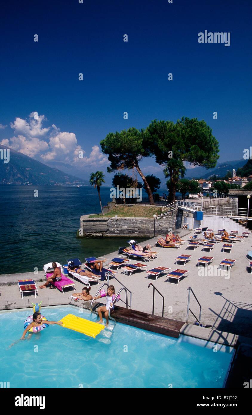 Lago Di Como Bellagio Town On Lake The Lido Swimming Pool People On Stock Photo Royalty Free