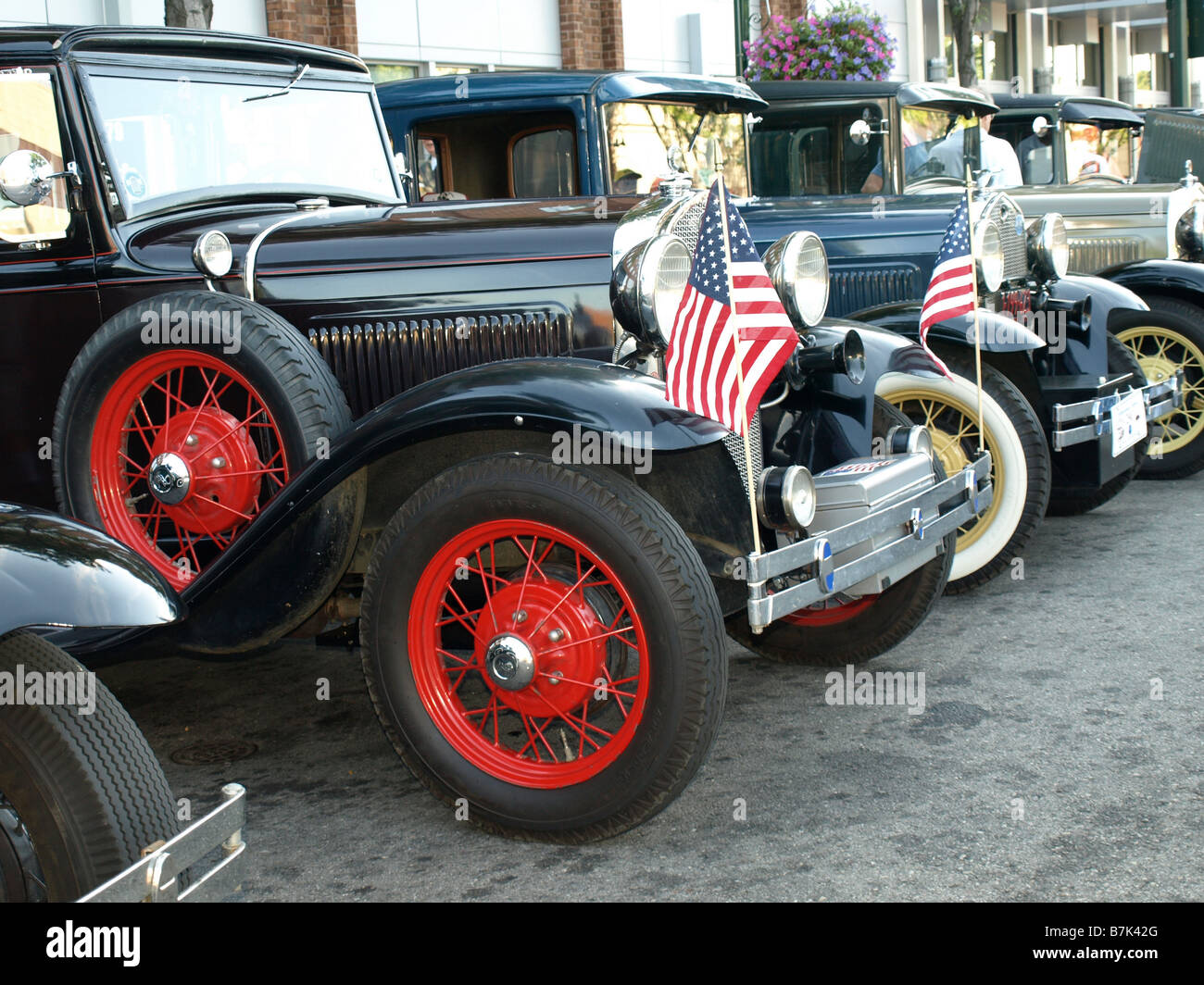 A Row Of Vintage Model T Cars At The Woodward Dream Cruise The