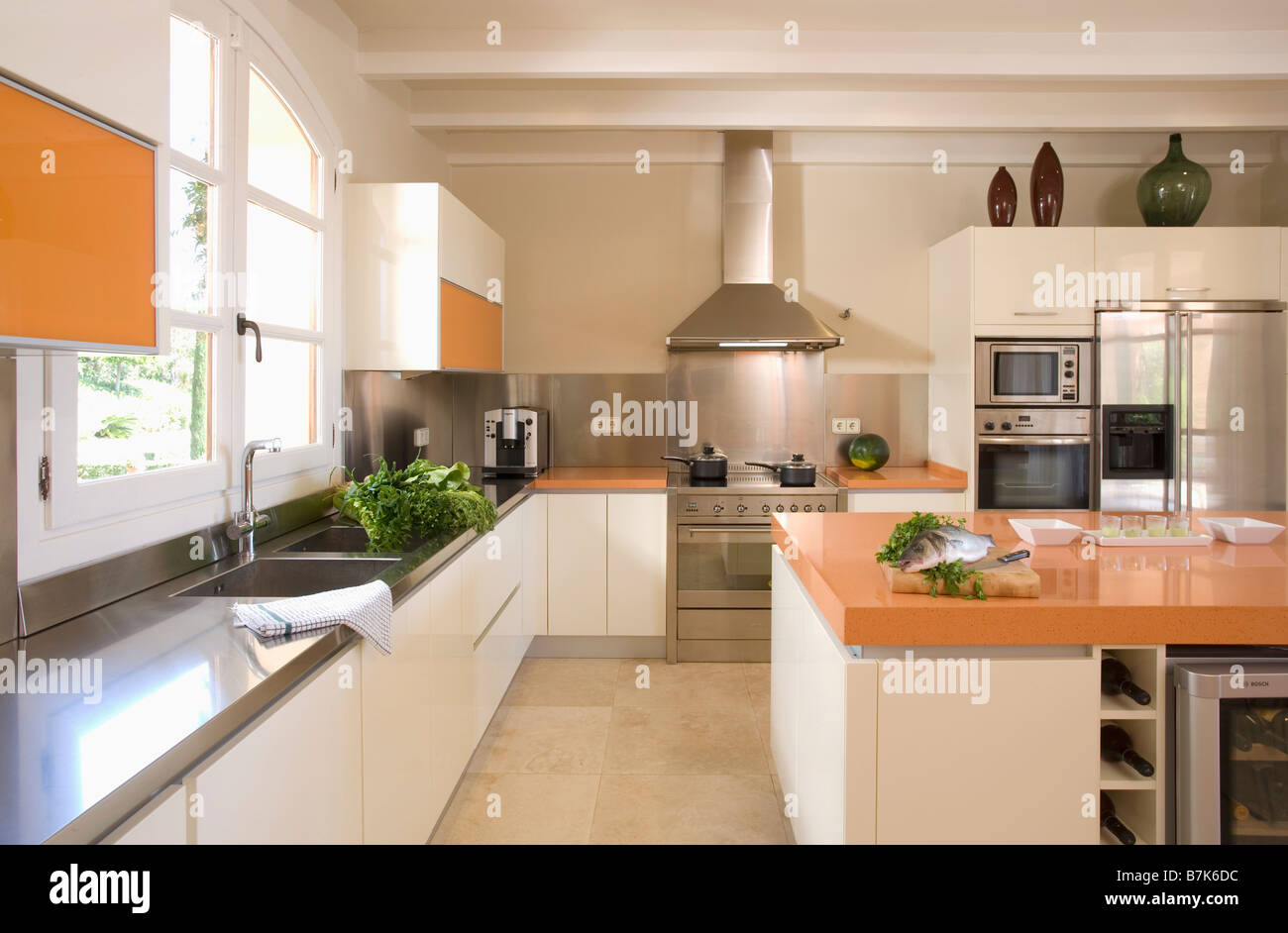 Orange And White Kitchen Stainless Steel And White Kitchen With Large Island Unit With