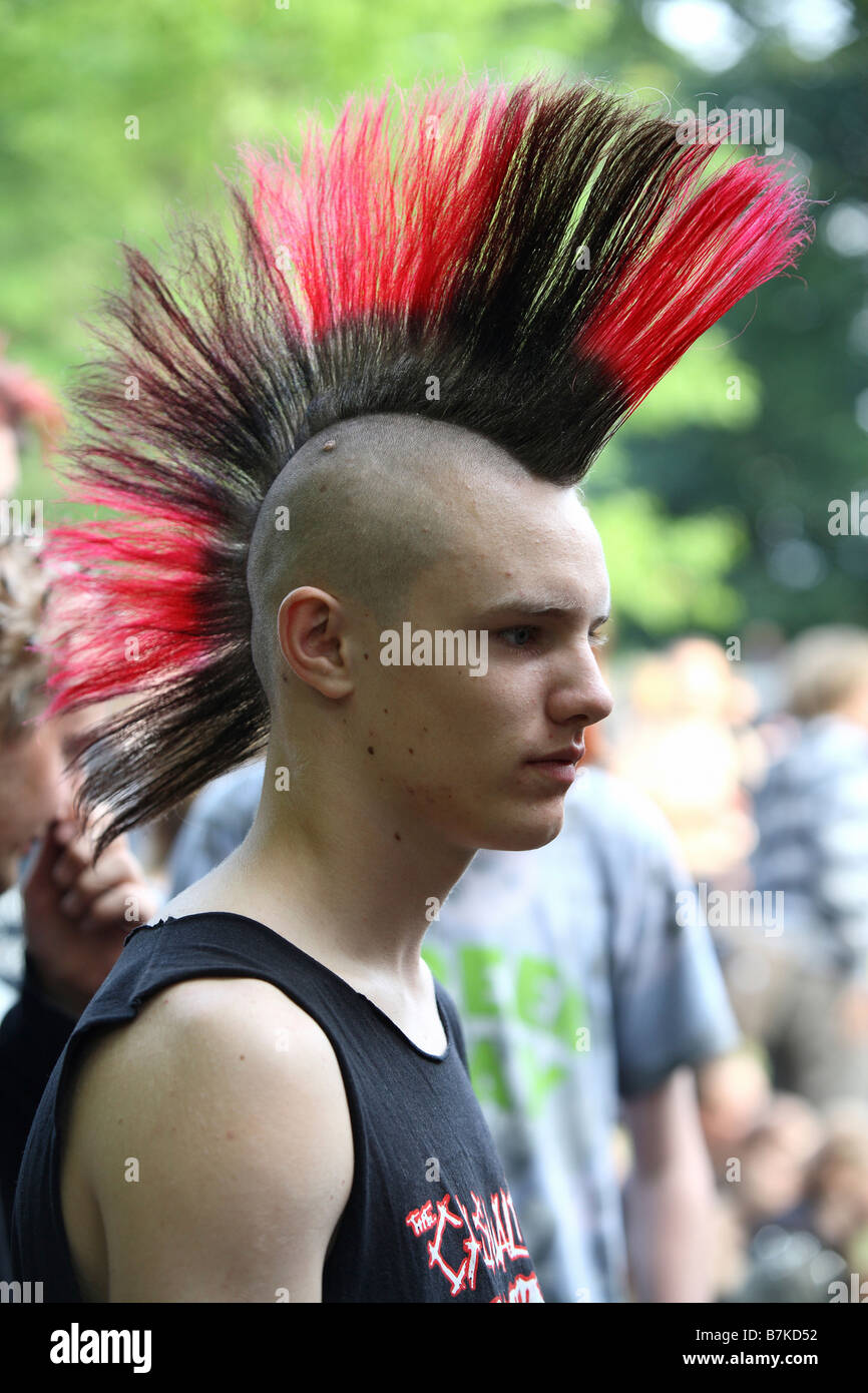 Punk Boy With Black Red Mohawk Stock Photo 21940382 Alamy
