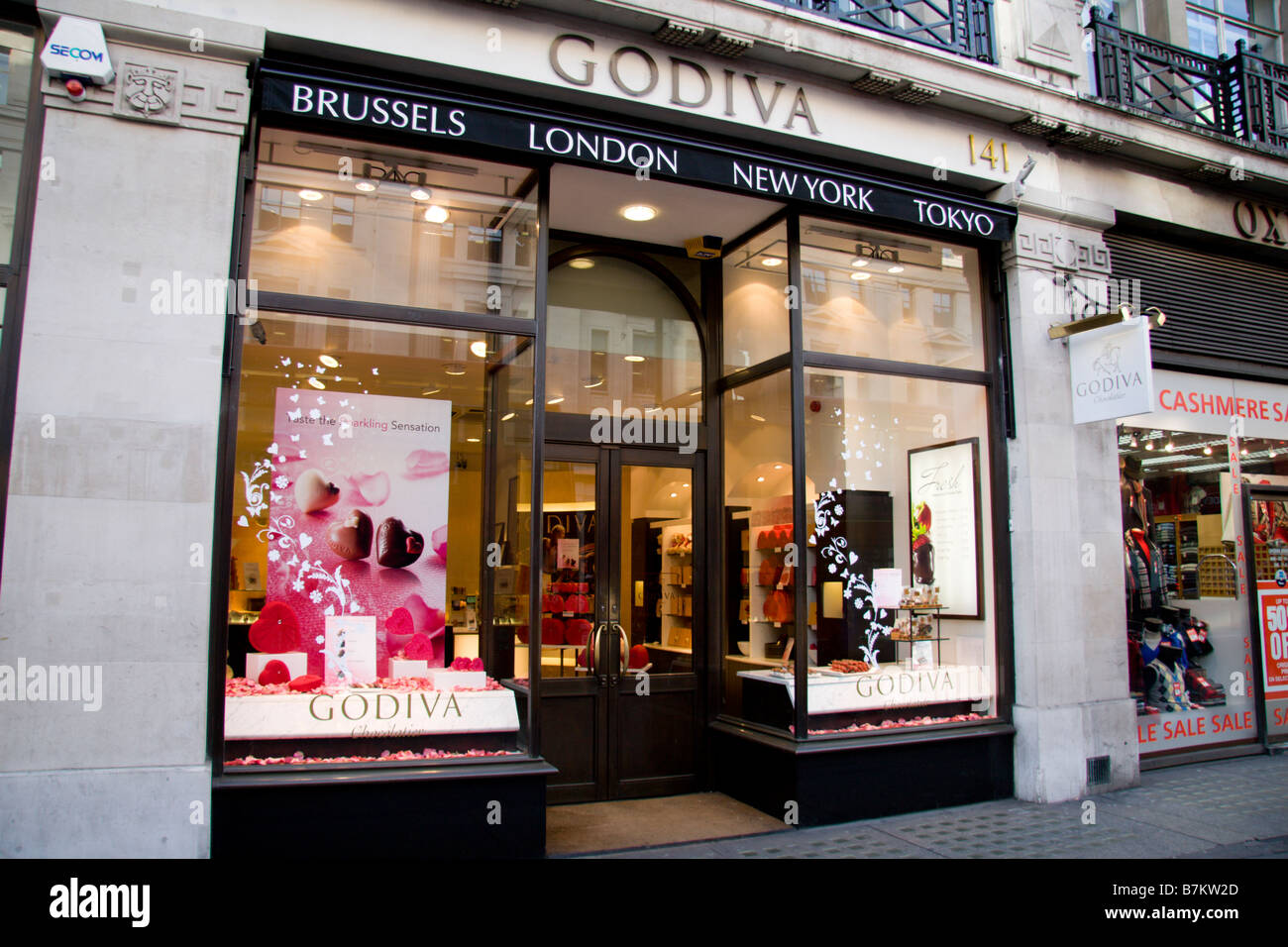 The shop front of the Godiva store, a handmade chocolate Stock ...