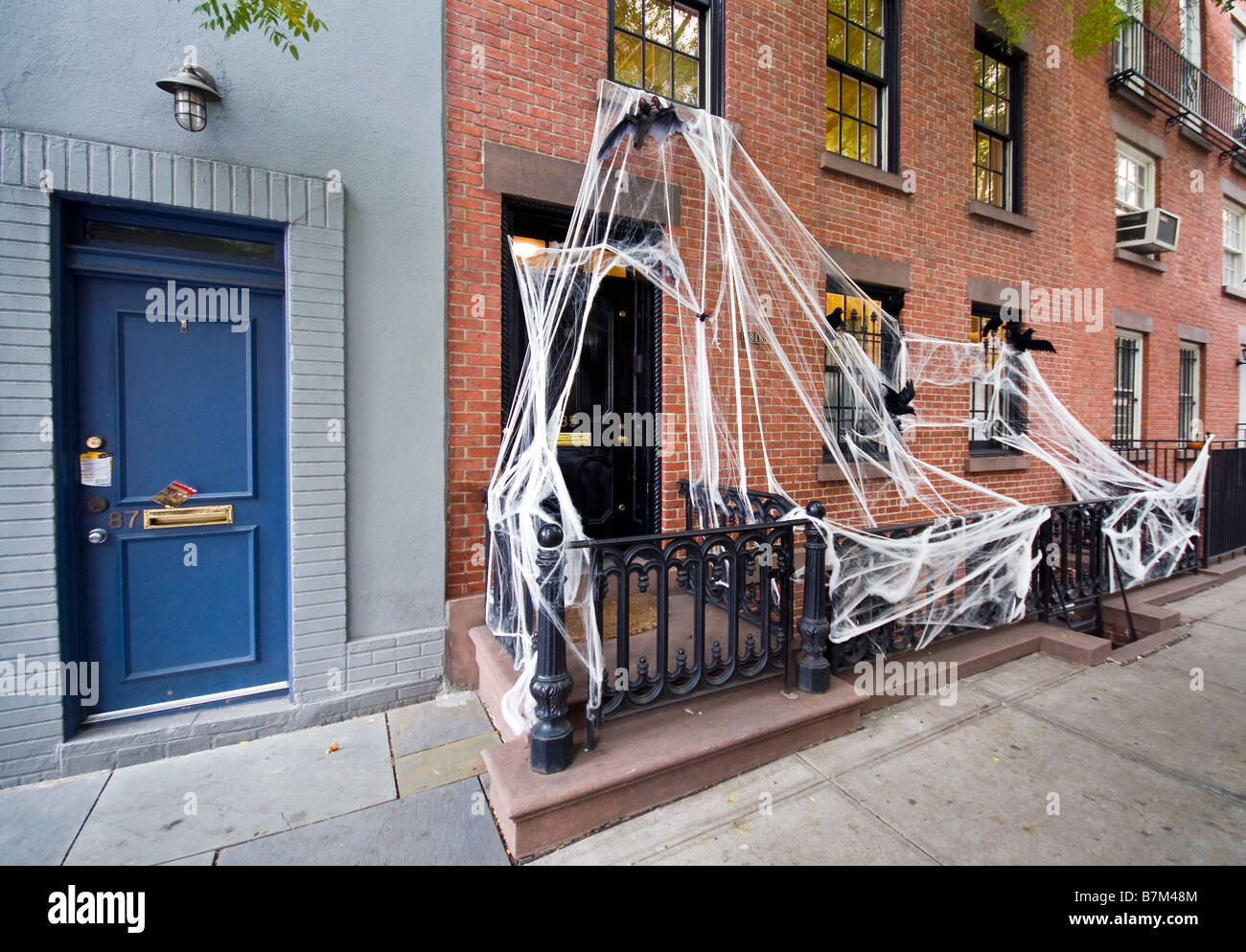 halloween decorations outside house in greenwich village new york usa