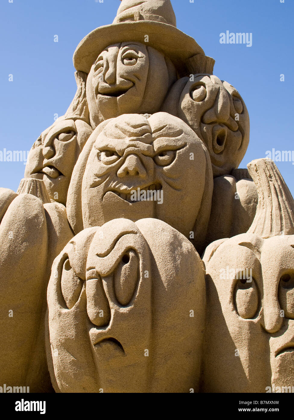Pumpkin sand sculptures are on a display at connecticut