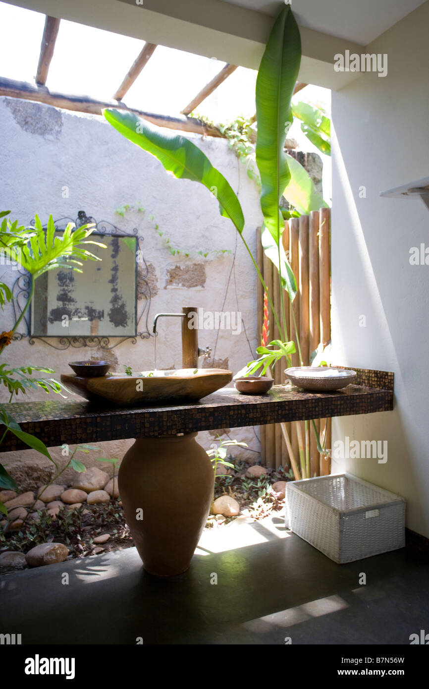 simple basin on wooden shelf in rustic bathroom with plants in atrium in beach house in brazil