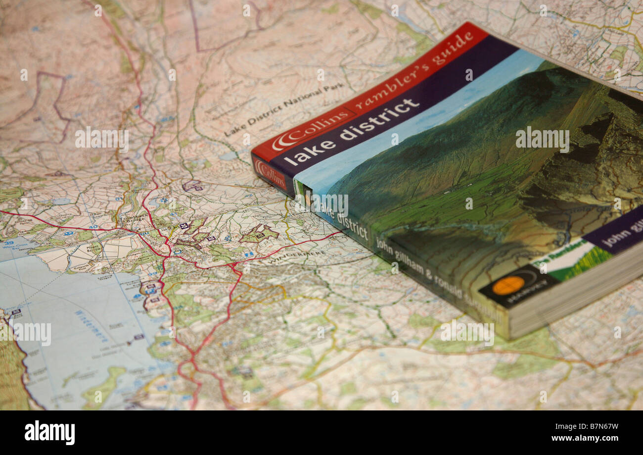 A guide book to the English Lake District and a map showing Lake