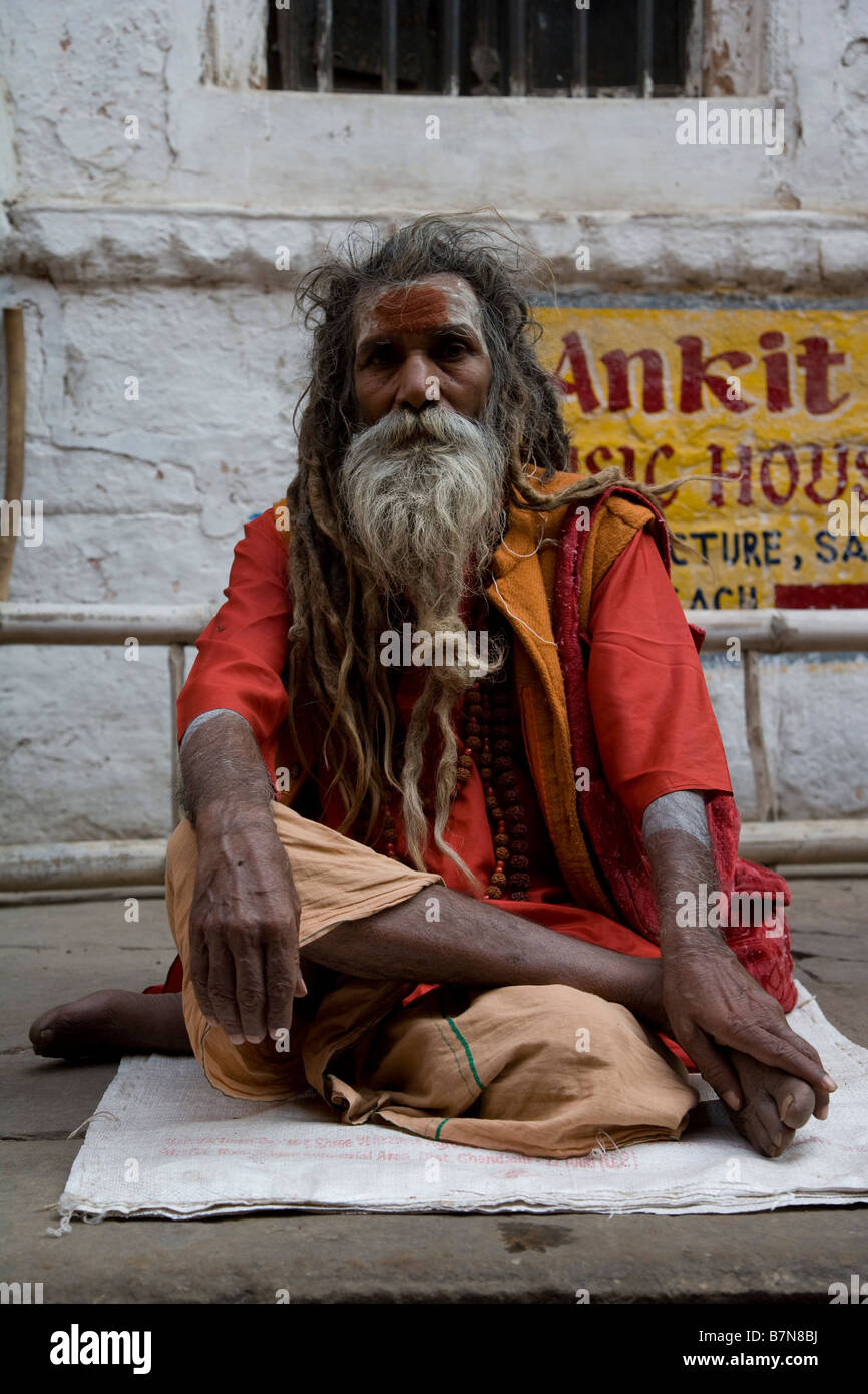 Holy Man Sadhu India Varanasi Local Devotee Spiritual Life Yogi Old Dreadlocks Yoga Meditate
