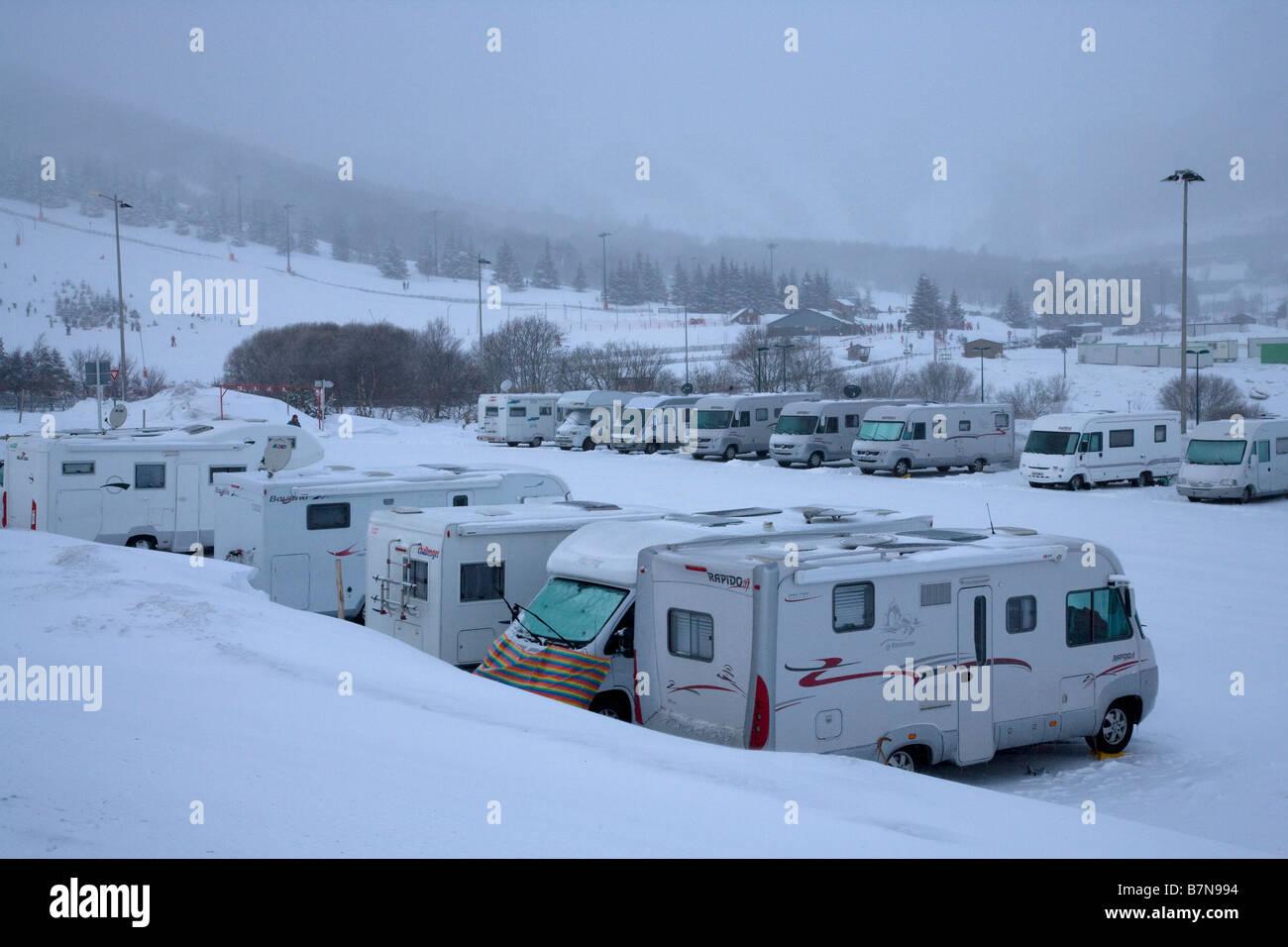 R V Motorhomes In Caravan Park In Winter Snow Super