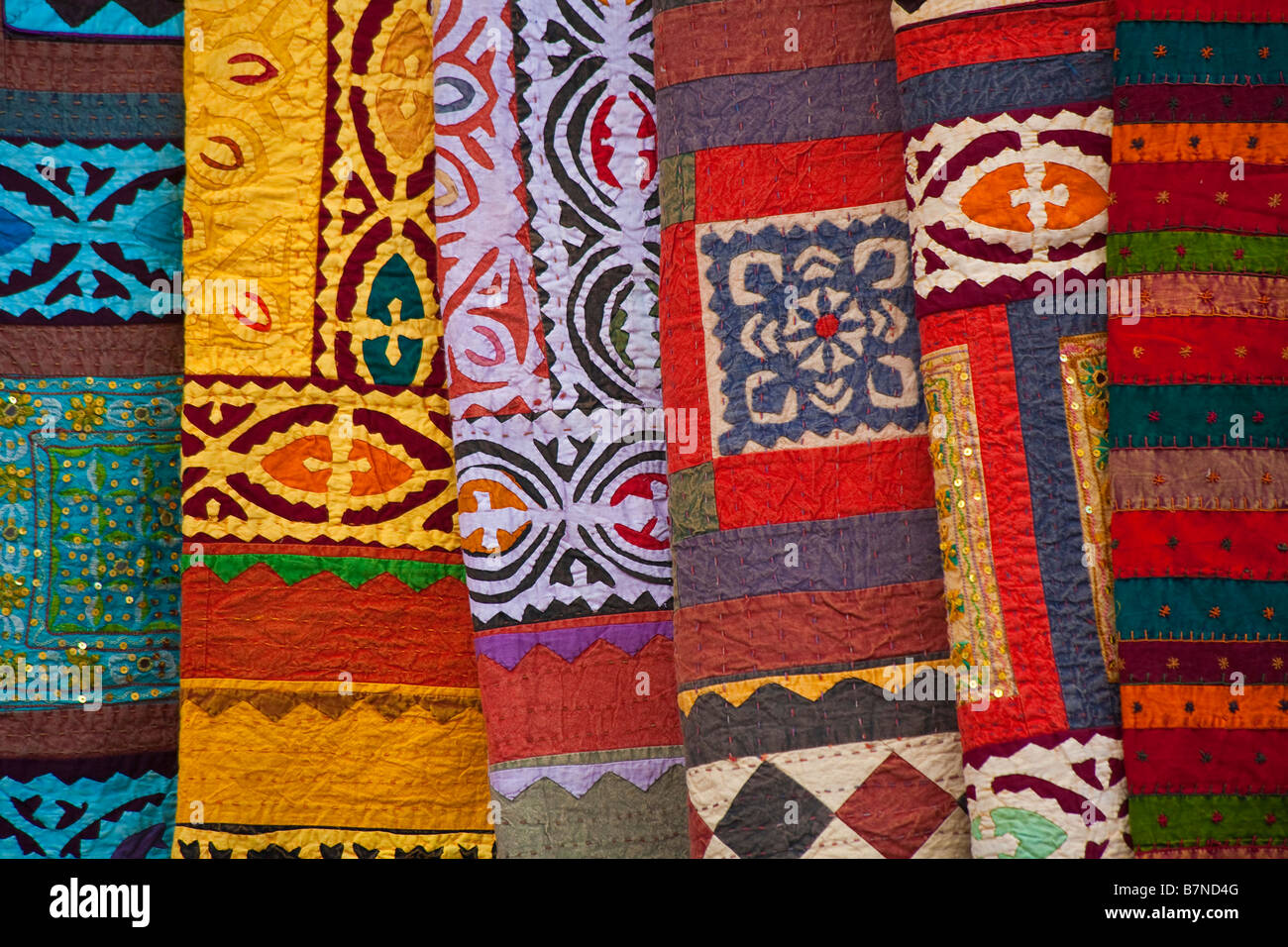 Attractive Colorful Rugs And Blankets Sold By The Street Vendors Of Santa Fe