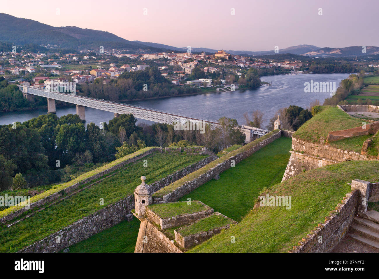 Portugal The Minho View From Castle Roman Bridge Over The River - Valenca portugal map