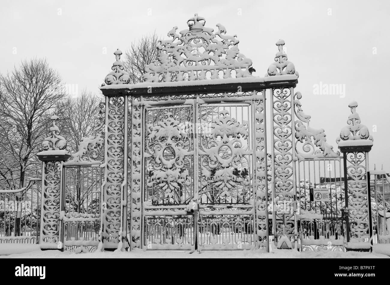 Hampton Court Palace Gate In Snow Home Park Surrey UK