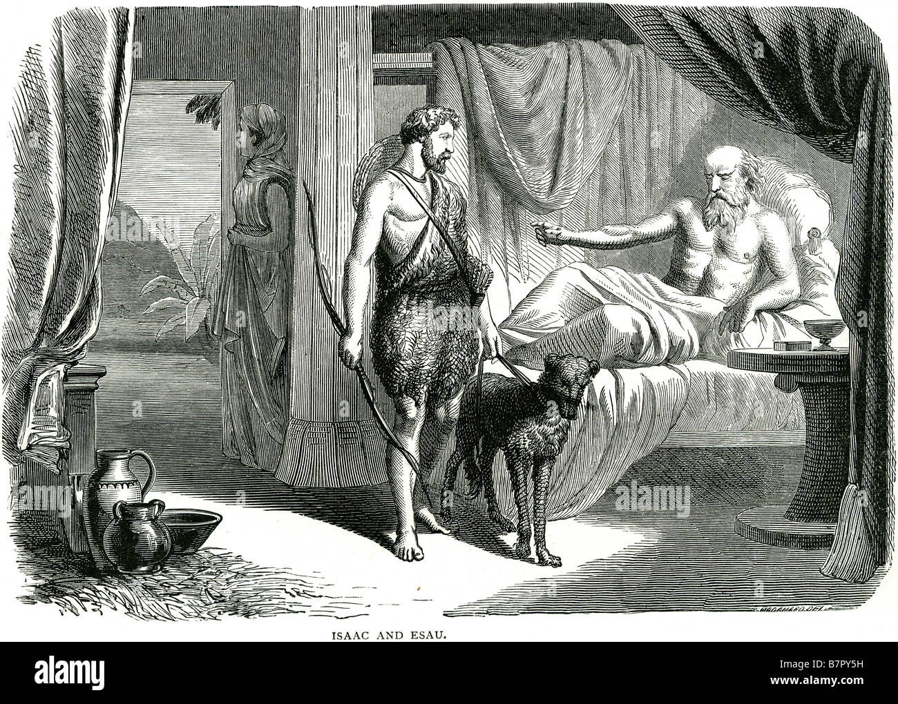 Isaac and Esau bed dog three people holy religious Stock Photo ...