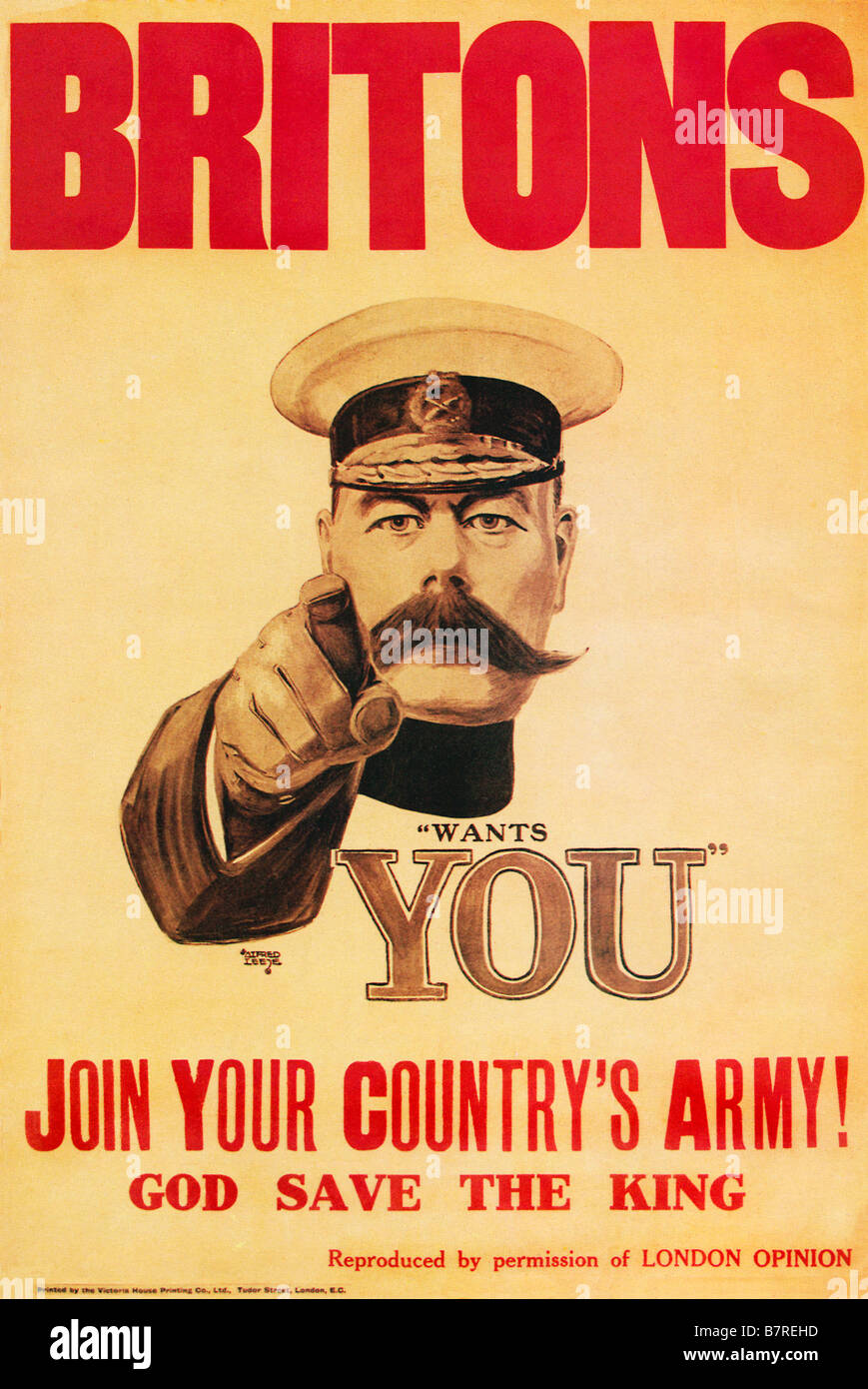 Britons Kitchener Wants You Iconic Great War Recruiting Poster Based On The Photo By Bassano
