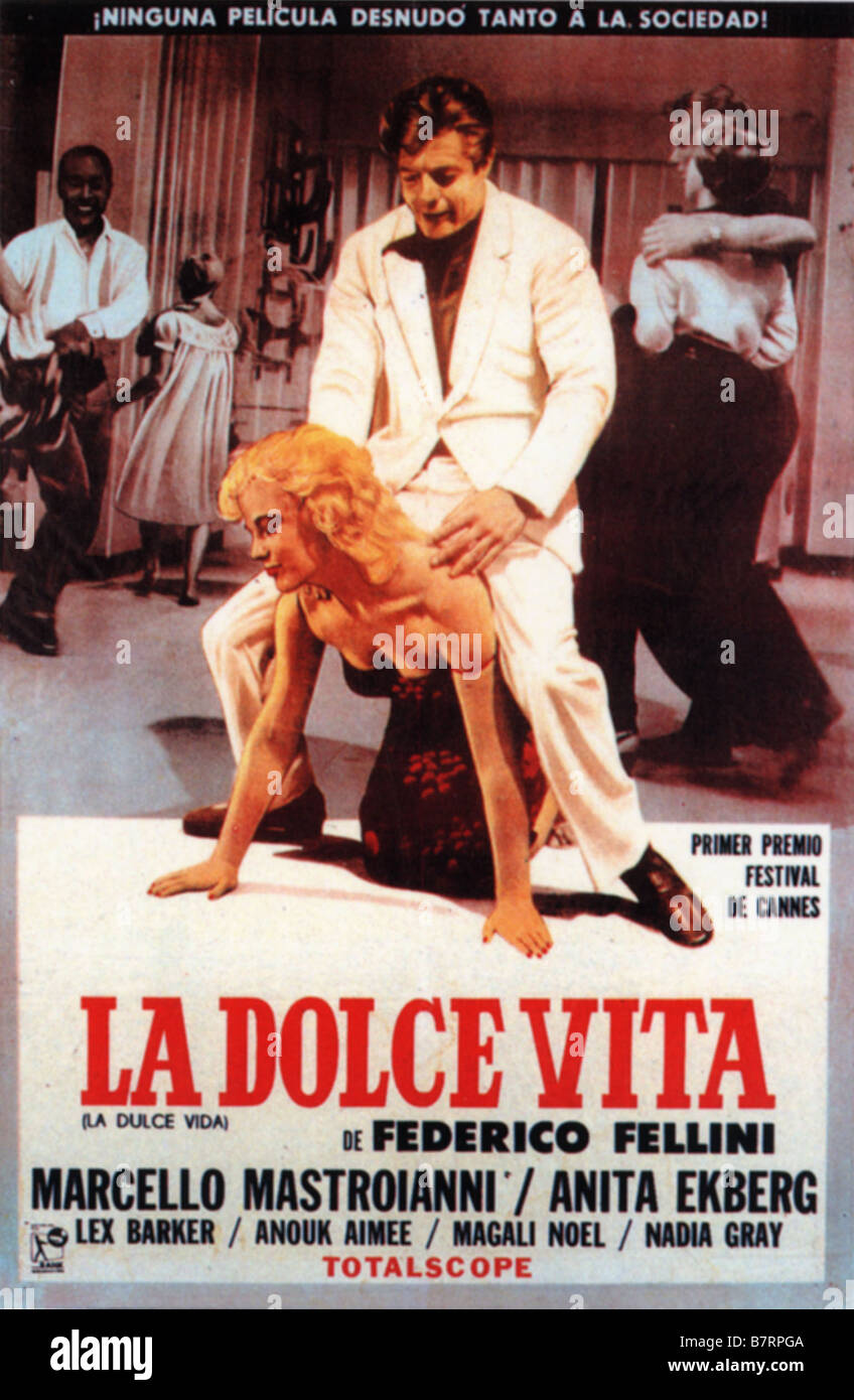 dolce vita la dolce vita la ann e 1960 italy affiche espagnol poster stock photo royalty free. Black Bedroom Furniture Sets. Home Design Ideas