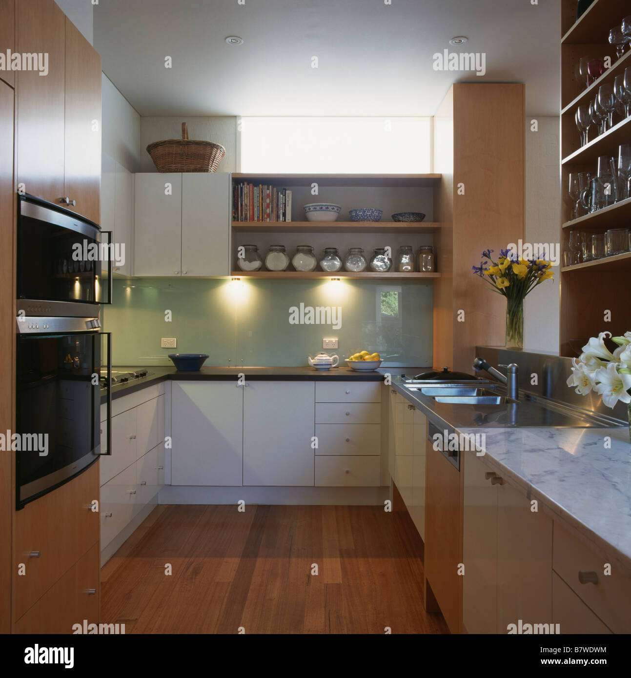Shelves Above Kitchen Cabinets Downligthing And Shelves Above Glass Splashback In Modern Kitchen