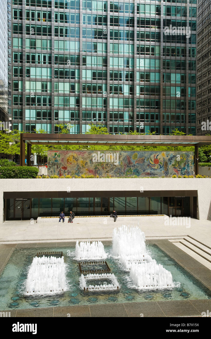 Illinois chicago four seasons mosaic mural by marc chagall for Chagall mural chicago