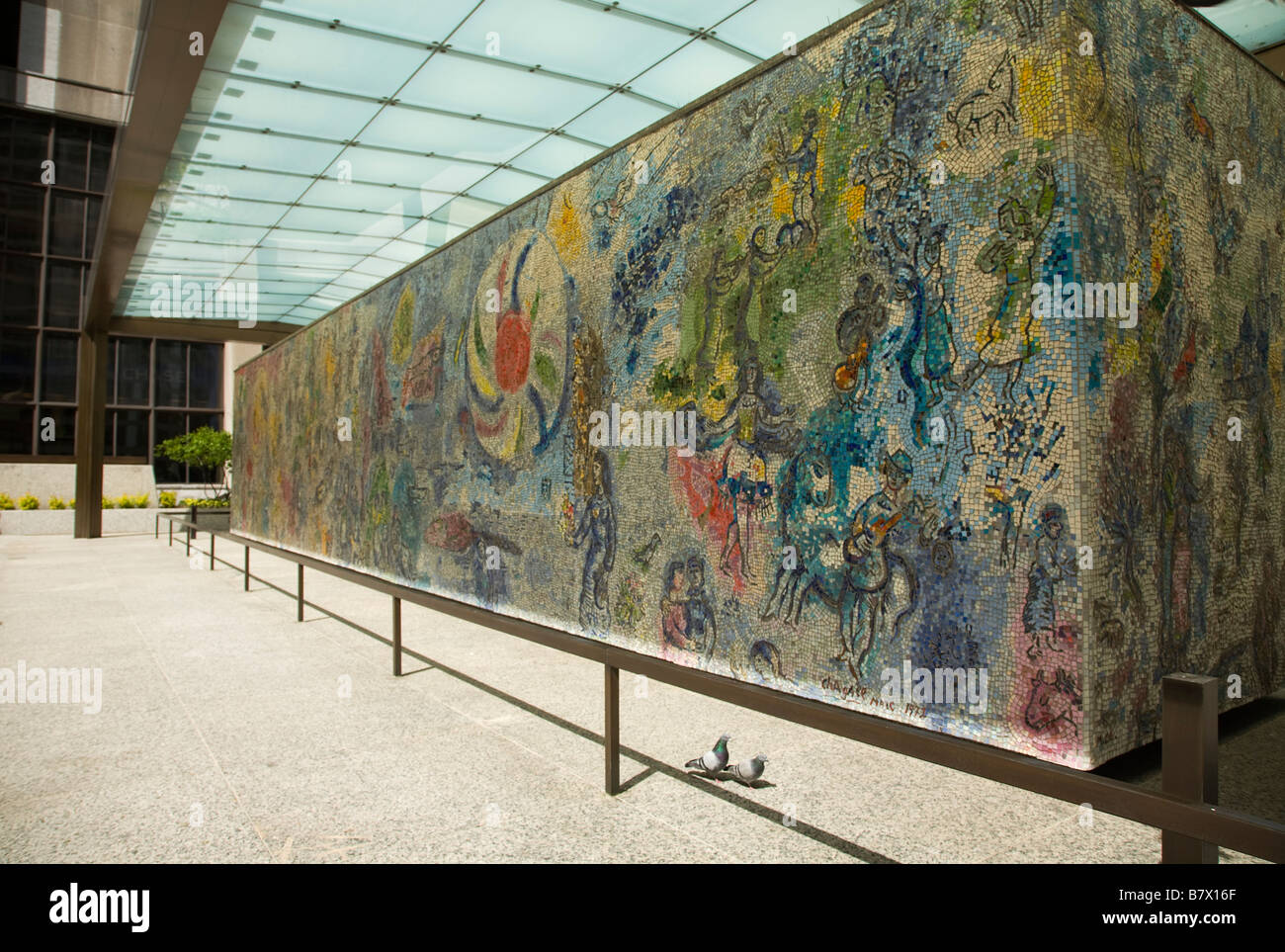 illinois chicago four seasons mosaic mural by marc chagall in illinois chicago four seasons mosaic mural by marc chagall in first national plaza with protective glass shade