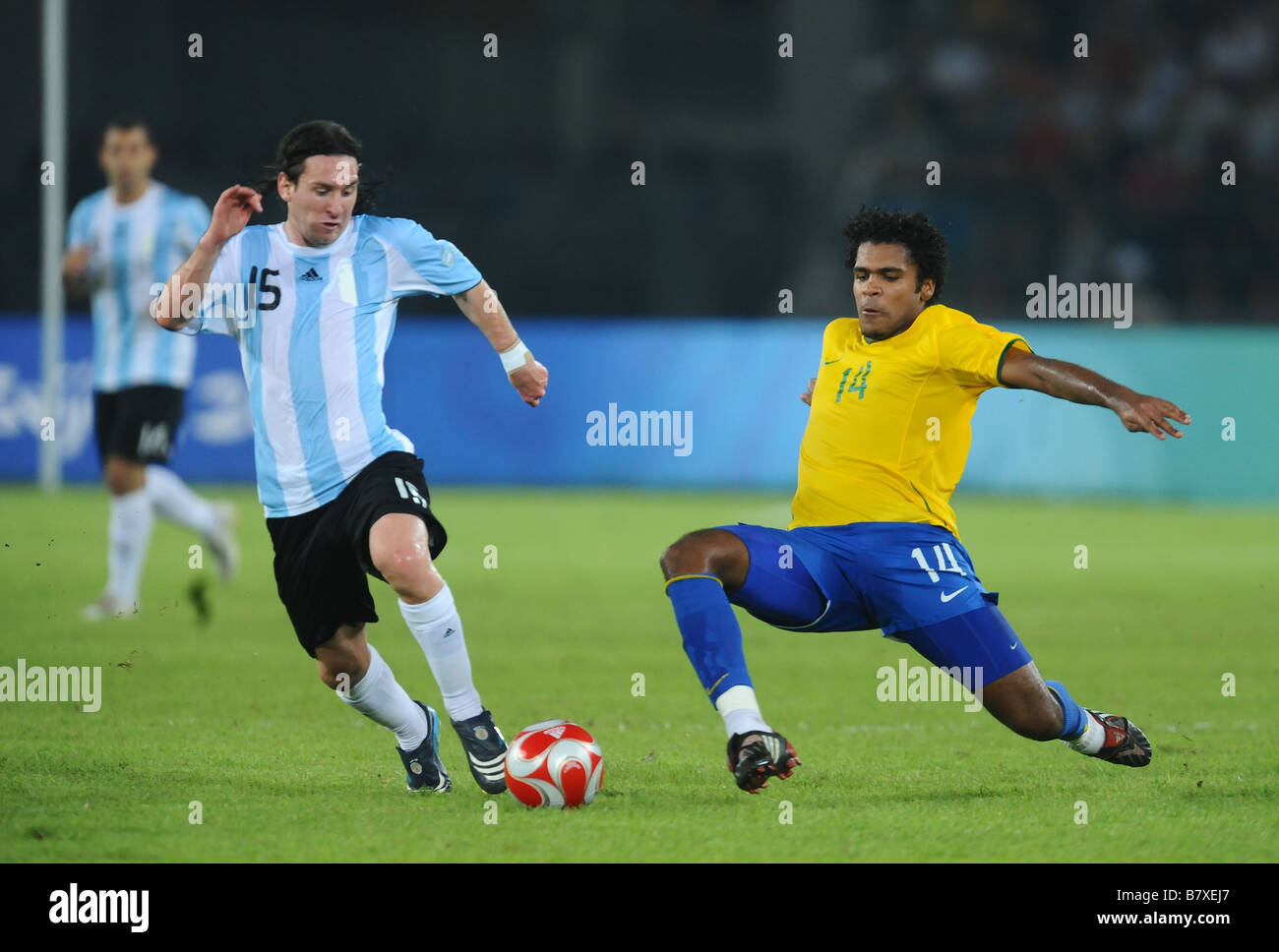 Lionel Messi ARG Breno BRA AUGUST 19 2008 Football Beijing ...
