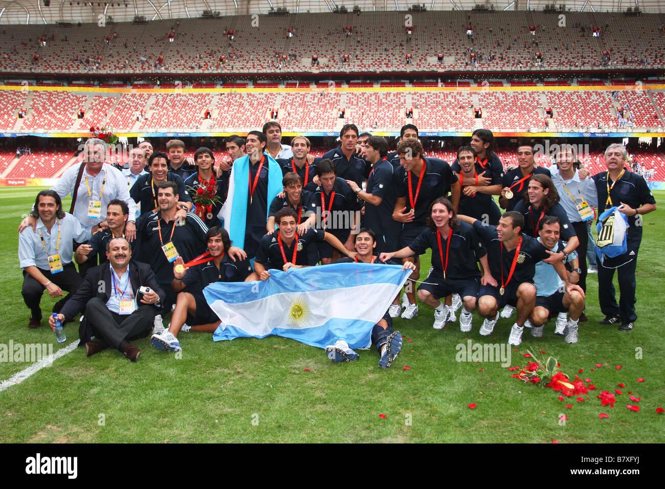 Argentina team group ARG AUGUST 23 2008 Football Beijing ...