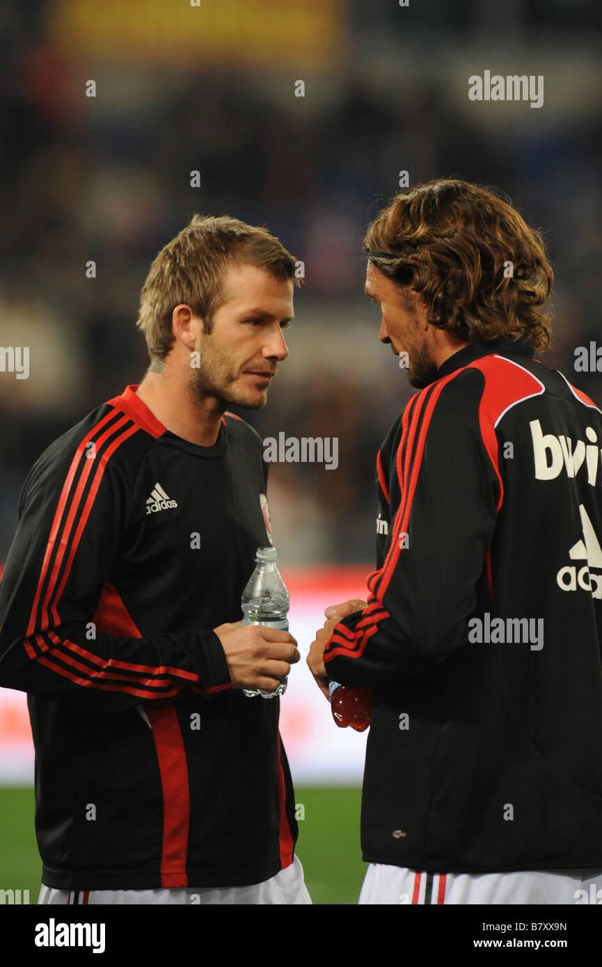 David Beckham Paolo Maldini Milan JANUARY 11 2009 Football Italian