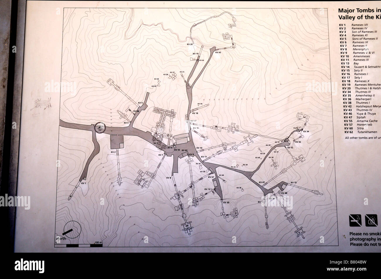 Map Showing Tombs In The Valley Of The Kings At Luxor In Egypt - Map of egypt showing valley of the kings