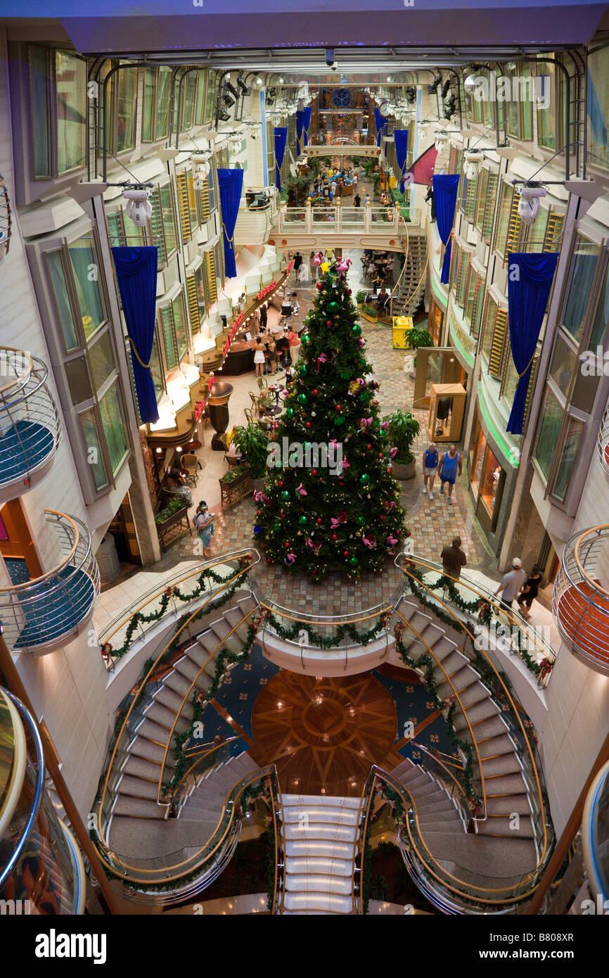Christmas tree in Royal Promenade deck of Royal Caribbean ...