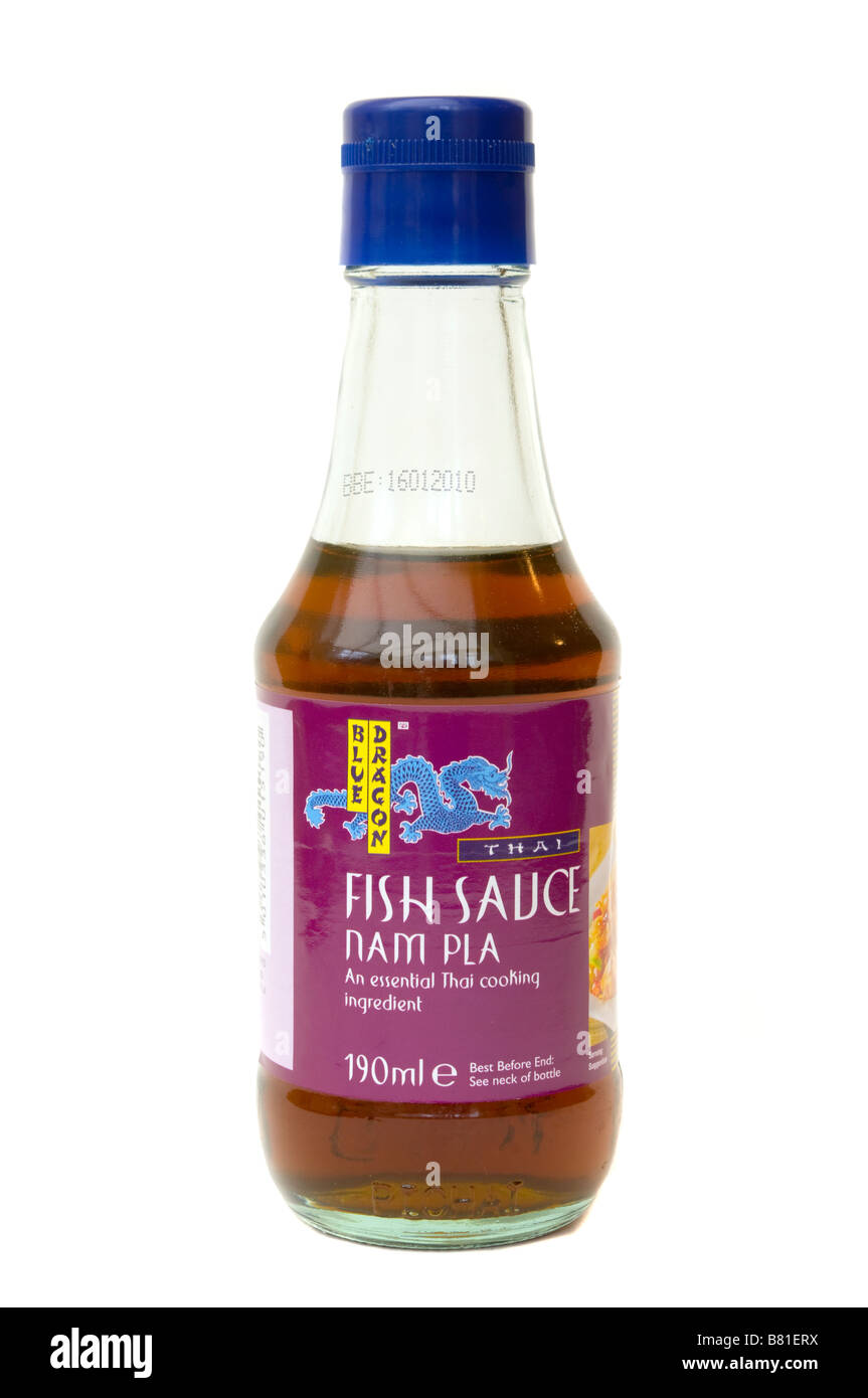 Glass bottle of blue dragon thai fish sauce nam pla stock for Thai kitchen fish sauce
