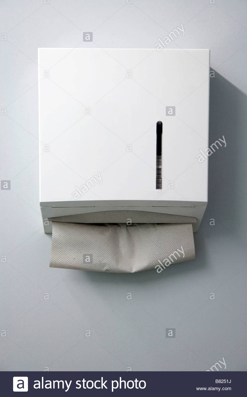 Paper towel dispenser in a public bathroom stock photo royalty free image 22175486 alamy for Home bathroom paper towel dispenser