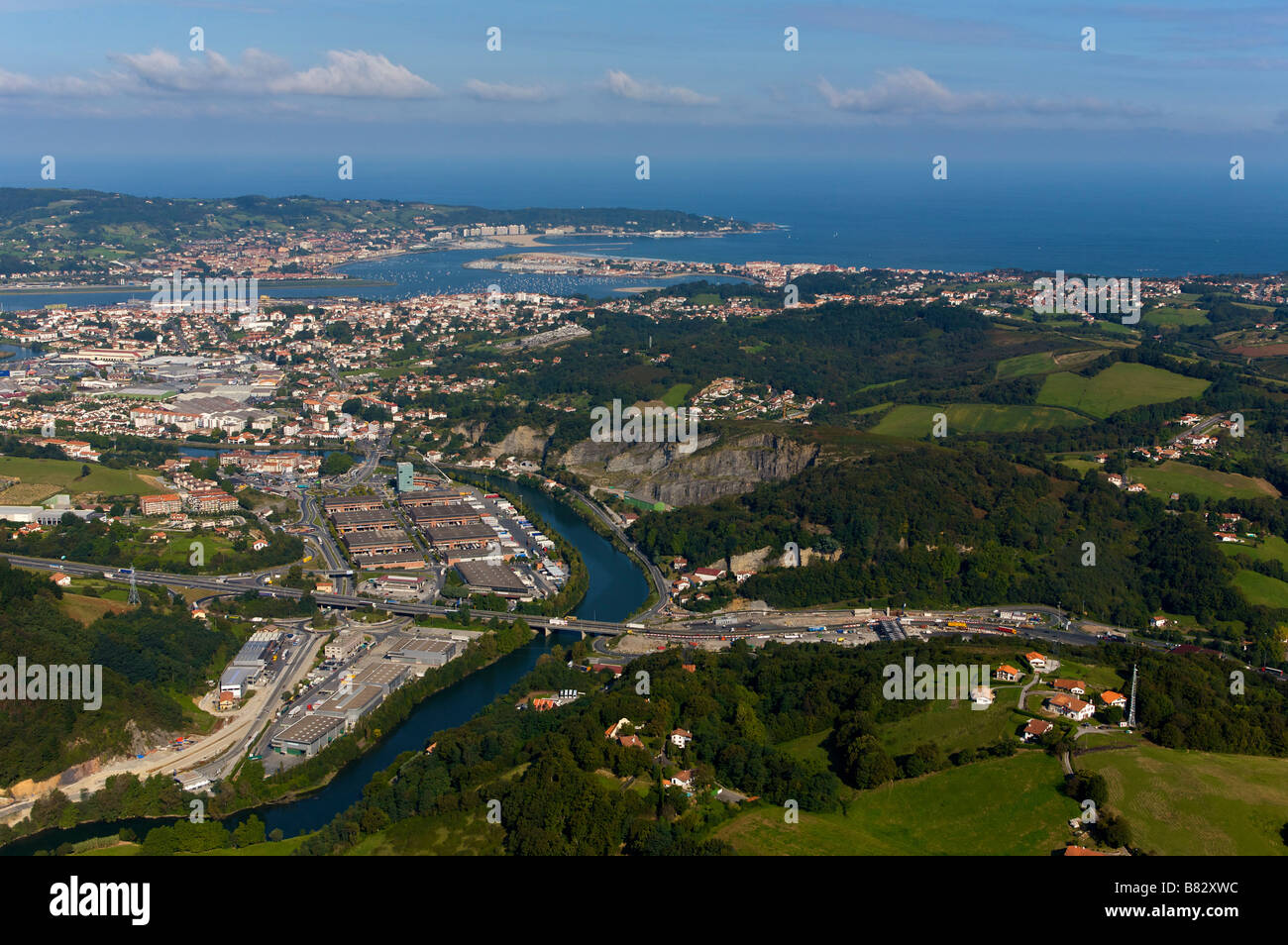 Aerial view of hendaye and irun cities in the pays basque for Hendaye france