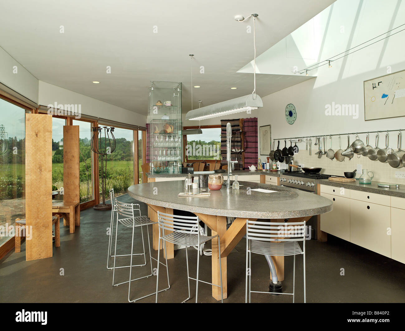 Floor To Ceiling Kitchen Units Kitchen With Central Breakfast Bar And Floor To Ceiling Windows
