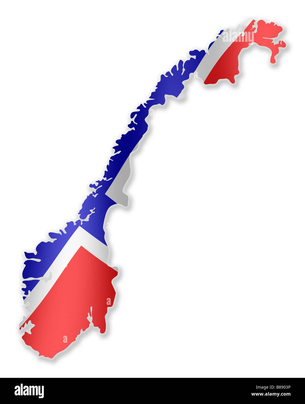Norway Norwegian Country Map Outline With National Flag Inside - Norway map outline