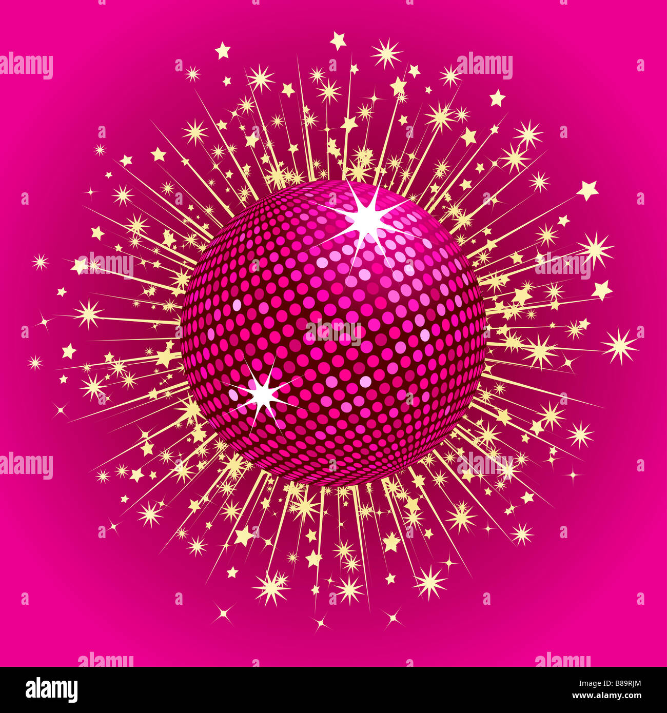 Sparkling pink disco ball with gold stars bursting out ...