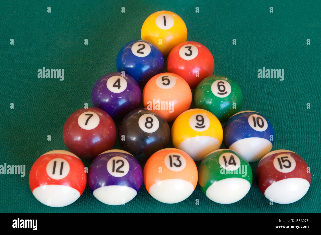 Billiard Table With Fifteen Balls Arranged As Triangle