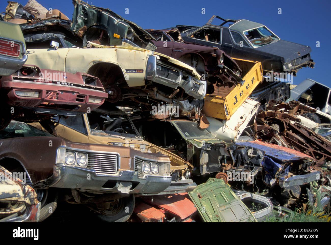 stacked wrecked cars at junkyard, USA Stock Photo, Royalty Free ...
