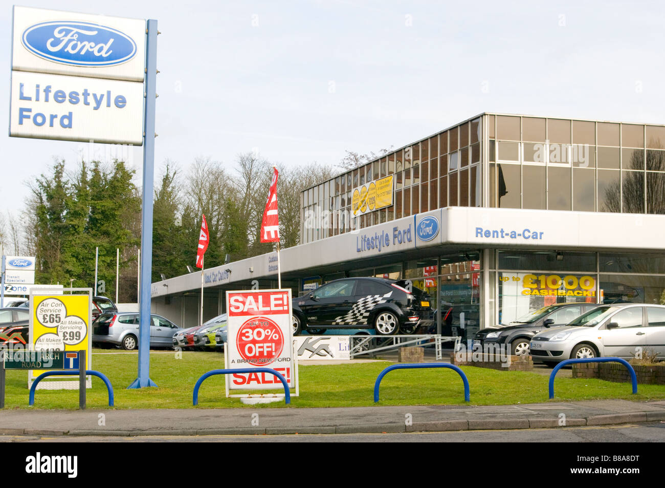 Stock Photo - Vehicles Cars On A Ford Car Dealers Forecourt : ford car showrooms - markmcfarlin.com