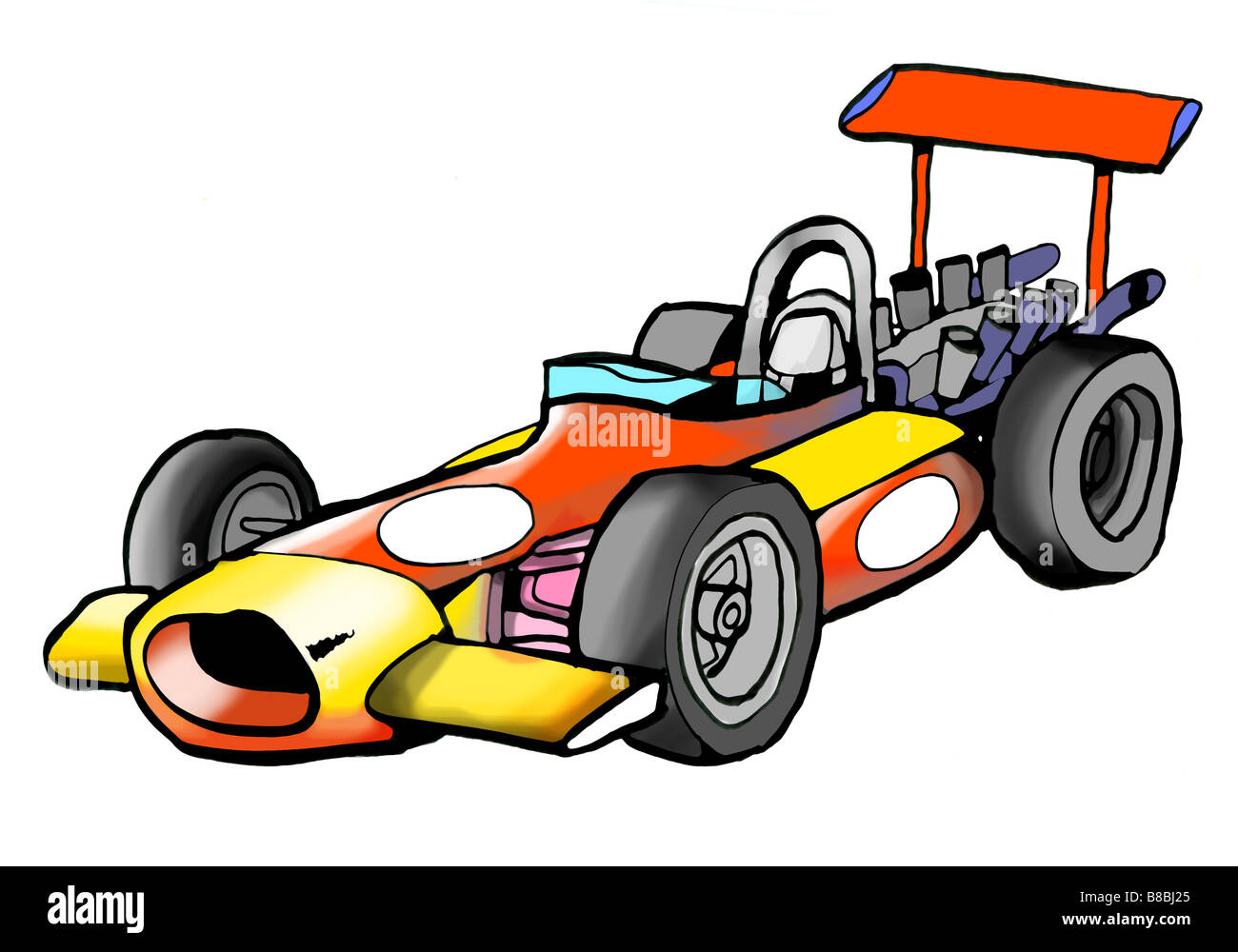 Cut Out Illustration Of A Vintage Formula Race Car Stock Photo