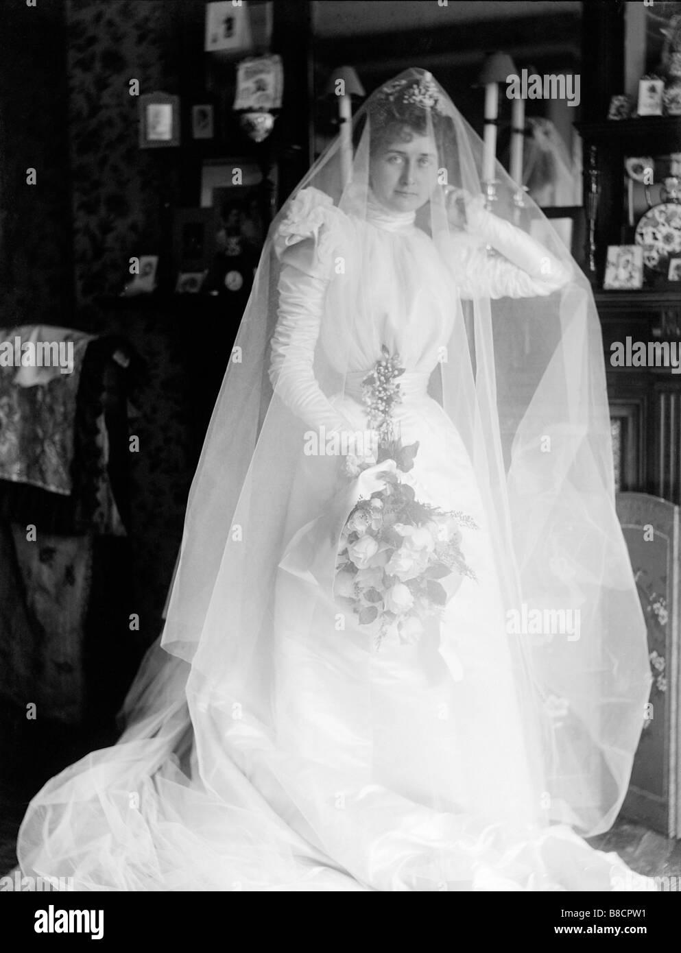 s woman wedding dress Victorian Woman Wedding Dress Montreal Quebec circa s Stock Image