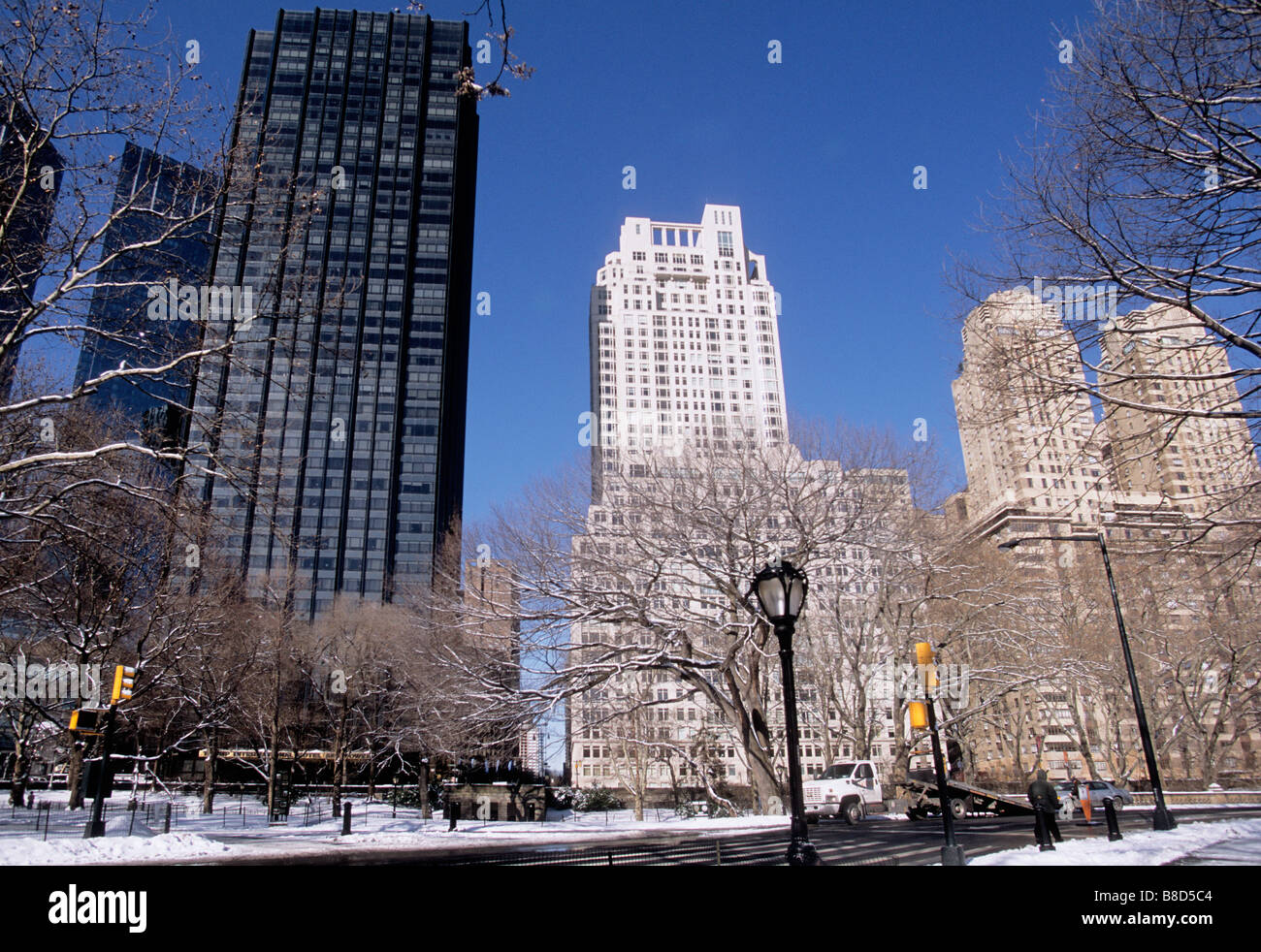 Stock photo usa new york city central park west buildings 15 central park west the century and trump international hotel and tower