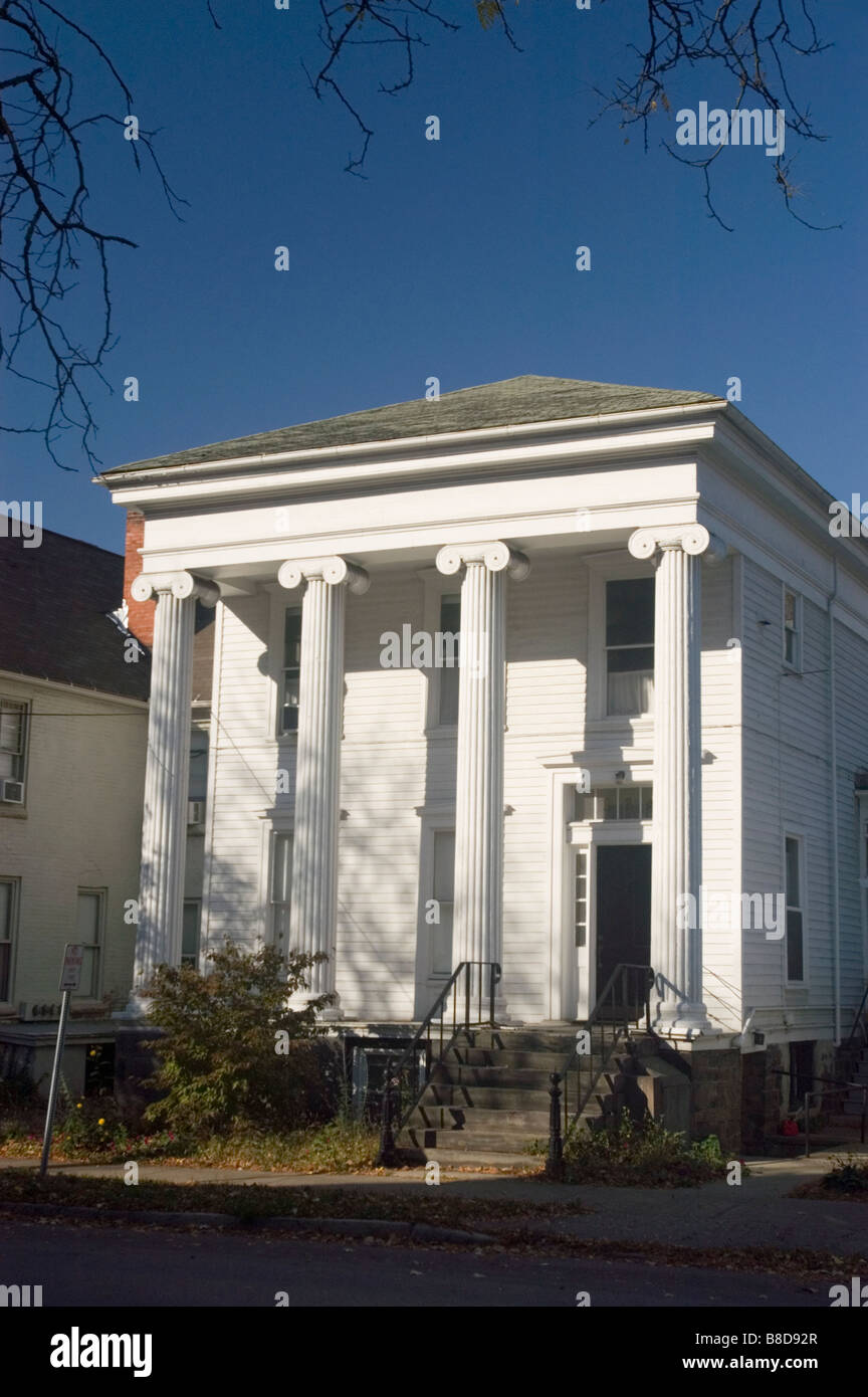 Greek Style White House With Columns Building In Ithaca, NY, USA   Stock  Image