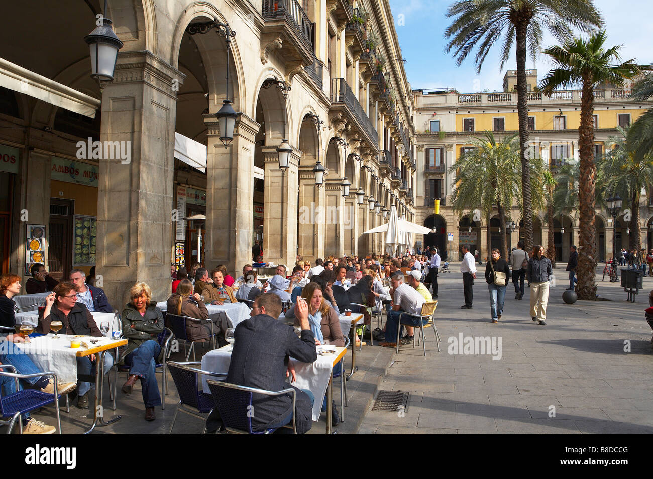 people at a cafe in the Placa Real, the Barri Gotic (Gothic Quarter Stock Pho...
