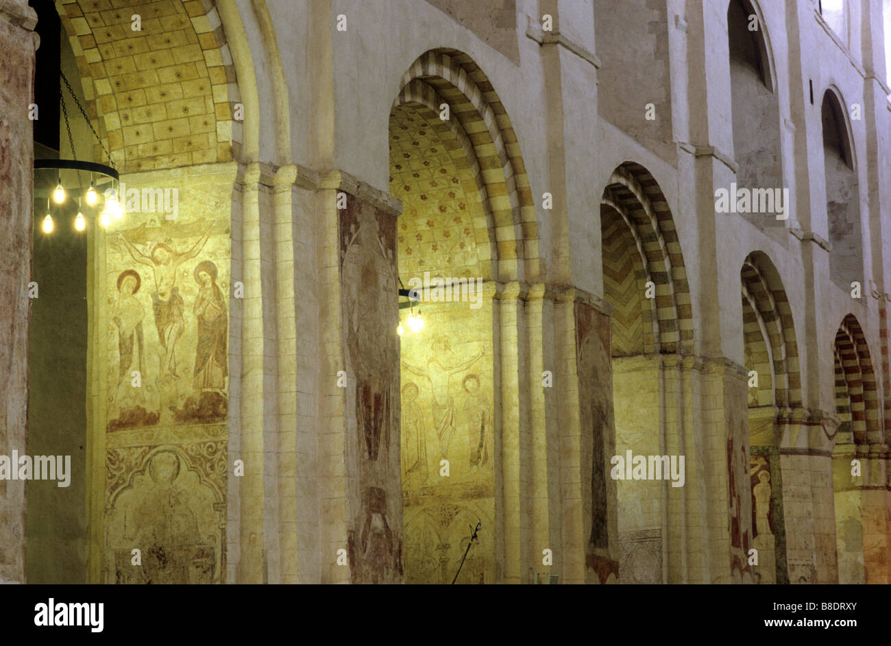 St Albans Cathedral Norman Nave Interior Medieval Wall Painting Crucifixion Romanesque Architecture Arch Arches Arcade Herts